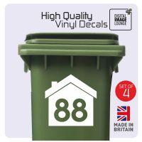 Wheelie Bin House Sticker x4
